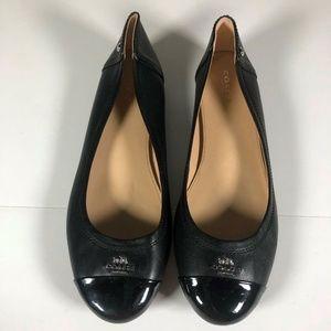Coach Flats Ballerinas Black Patent Cap Toe Size 9